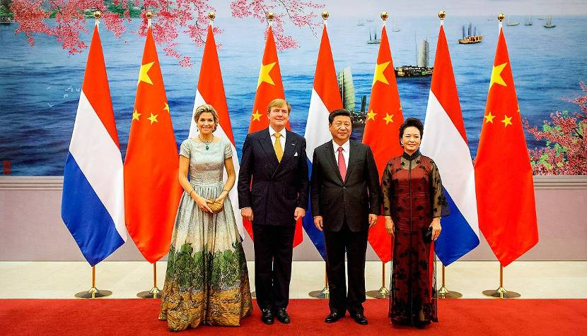 Queen Máxima, King Willem-Alexander, the President of China Xi Jinping and his spouse Peng Lyuang at the state banquet