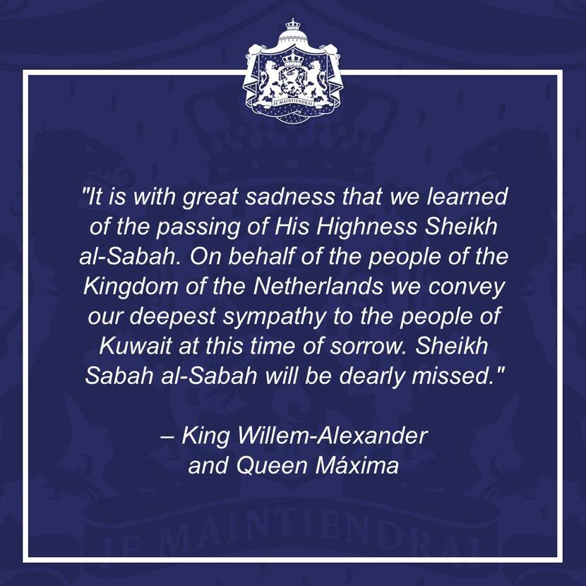 Response by King Willem-Alexander and Queen Máxima upon the death of Sheikh Sabah al-Sabah of Kuwait