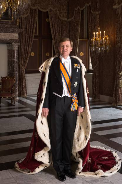 King Willem-Alexander wearing the ermine robe, April 2013
